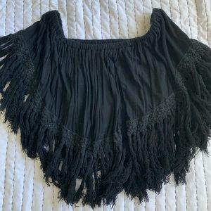 Black fringe crop top